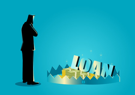 business loans: Business concept illustration of a businessman thinking of taking loans