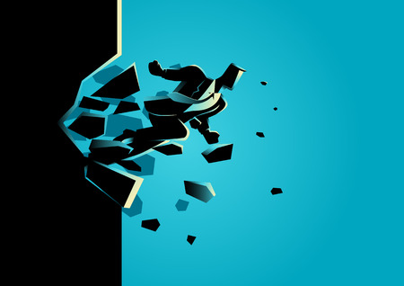 Silhouette illustration of a businessman breaking the wall. Business, breakthrough, success, challenge concept Vettoriali