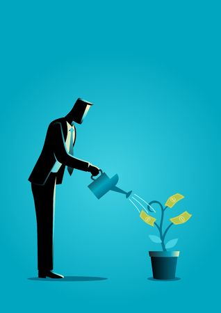 Business concept illustration of a businessman watering young plant with dollar leaves. Investment, business growth concept