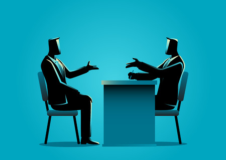 interviewed: Business illustration of a man being interviewed by recruiter. Negotiate, candidate business concept Illustration