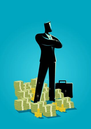 Business concept illustration of a businessman standing with a lot of money underneath him. Illustration