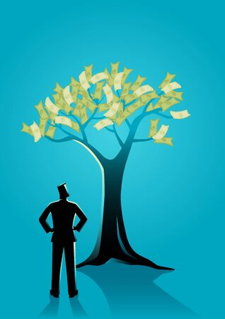 Business concept illustration of a man looking at money tree Illustration