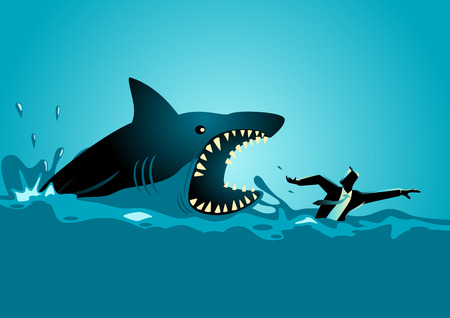 Business concept illustration of a businessman swimming panic avoiding shark attacks