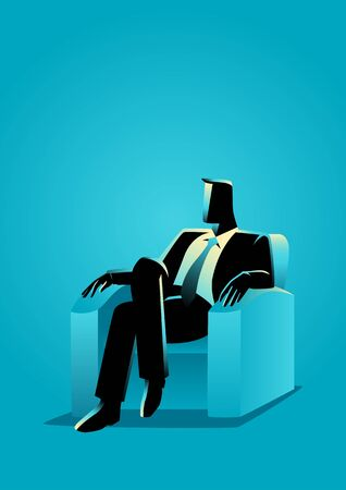 Business illustration of a businessman sitting on sofa Illustration