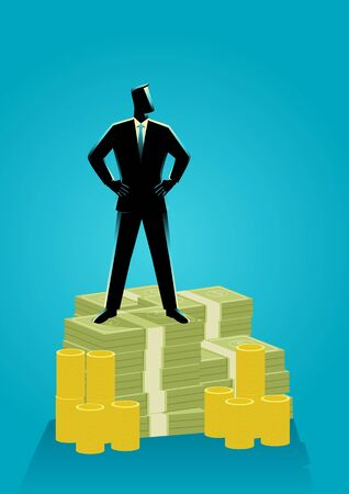 Business concept illustration of a businessman standing with both hand around waist on pile of money