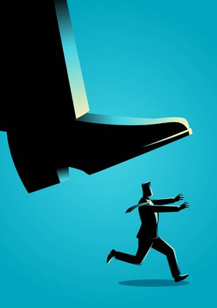 Business concept illustration of a businessman runs from giant foot Illustration