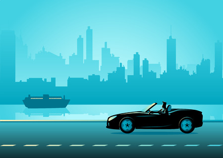 Business illustration of a successful businessman driving a convertible luxury car on city quay