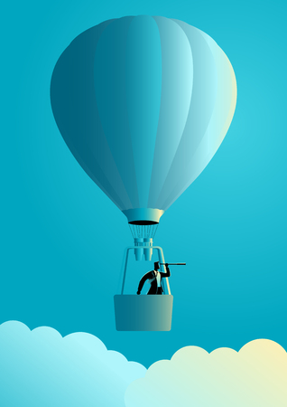 clearer: Business concept illustration of a businessman on air balloon using telescope