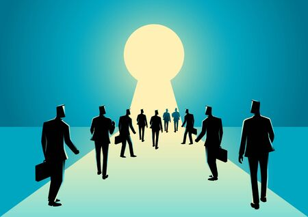 brighter: Business concept illustration of businessmen walking into keyhole with bright light
