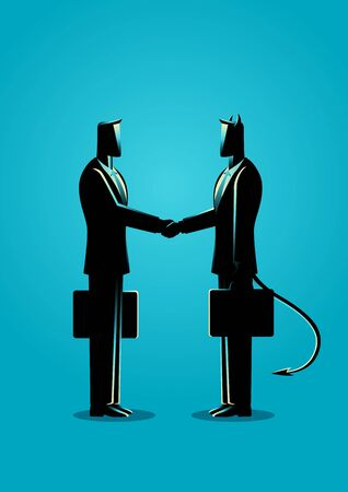 Business concept illustration of a businessman making a deal with devil
