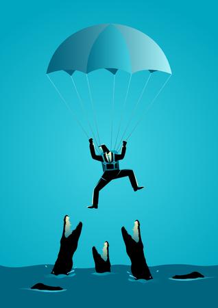 Illustrazione di business concept di un uomo d'affari con paracadute che cadono in acqua piena di coccodrilli affamati
