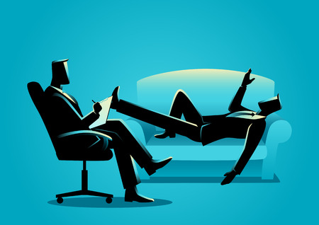 Business concept illustration of a businessman having a therapy with psychologist
