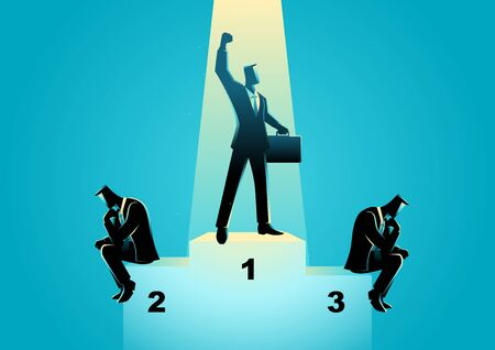 business confidence: Business concept illustration of businessmen on podium, business competition, winner concept