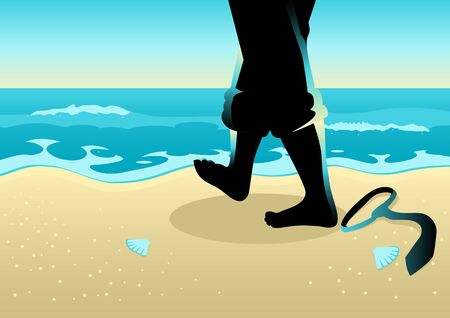 Business concept illustration of a businessman with barefoot walking on the beach Illustration