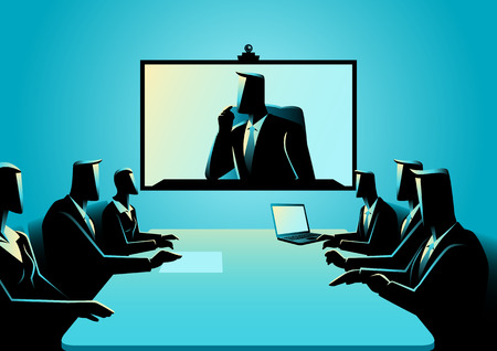 delegation: Business concept illustration of business men and women having teleconference meeting