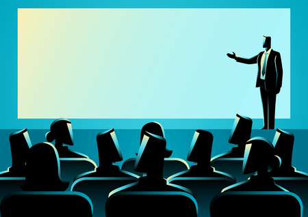 presentation screen: Business concept illustration of businessman giving a presentation on big screen. Audience, seminar, conference theme Illustration