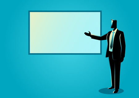 Business illustration of a businessman giving a presentation on white board