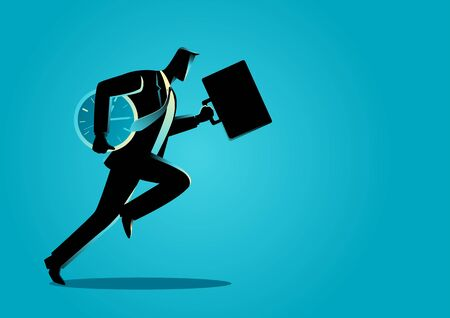 energetic: Business concept illustration of a businessman running with briefcase and clock, business energetic, dynamic and speed concept