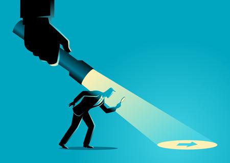 Illustration de concept d'affaires d'un homme d'affaires étant guidée par une main tenant une lampe de poche découvrant le signe de la flèche.