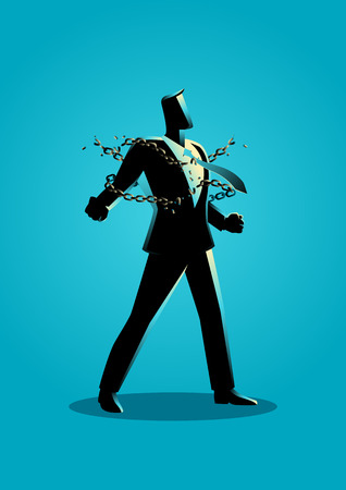Business concept illustration of a businessman breaking chains, freedom, spirit, struggle, revolution in business concept Illustration