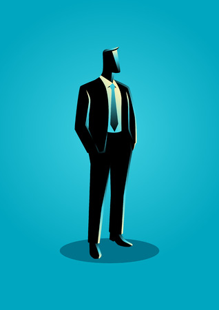 business confidence: Business illustration of a businessman in formal suit standing with his hands in his pocket