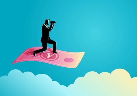 stock predictions: Business concept illustration of a businessman with binoculars flying on Yuan banknote Illustration