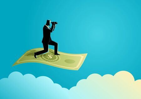 speculation: Business concept illustration of a businessman with binoculars flying on banknote
