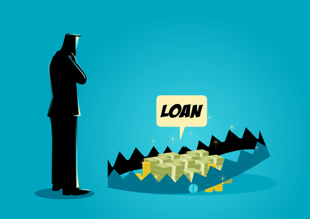 Business concept illustration of a businessman thinking of taking loans