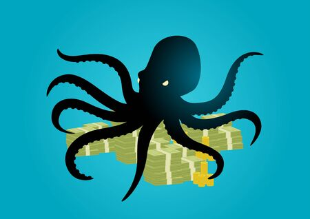 Silhouette illustration of an octopus holding money with its tentacles, business, corporation, conglomerate, capitalism concept Illustration