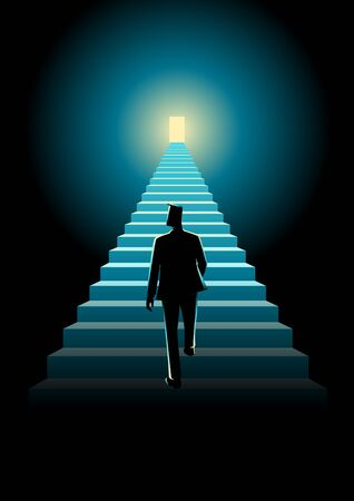 stairway: Business concept illustration of a man walking on a stairway leading up to a bright door