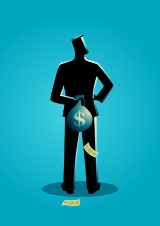 hidden taxes: Business concept illustration of a man hiding a money bag behind his back for tax evasion concept Illustration