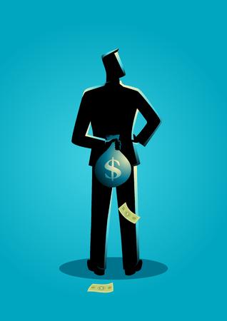 Business concept illustration d'un homme qui se cachait un sac d'argent derrière son dos pour l'impôt concept de fraude