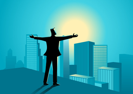 widely: Business concept illustration of  businessman standing on the rooftop of a high building opening his arms widely. Illustration