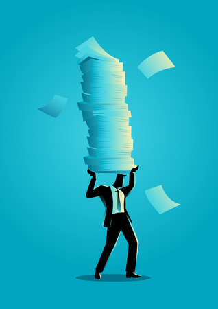 Business concept illustration of a businessman holding a lot of documents.