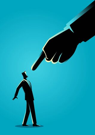Business concept illustration of a businessman being pointed by giant finger.