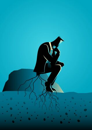 Business concept illustration of a pensive businessman sitting on a rock and rooted to the ground.