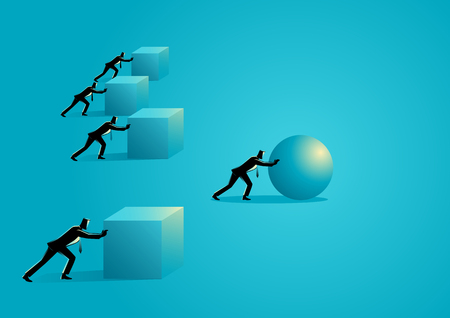 Business concept illustration of a businessman pushing a sphere leading the race against a group of slower businessmen pushing boxes.