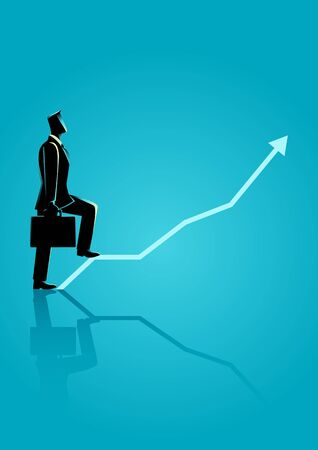 Business concept illustration of a businessman step on graphic chart Illustration