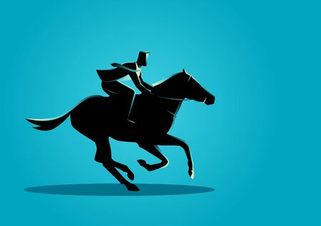 fast forward: Business concept illustration of a businessman riding a horse.