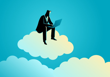 sits: Business concept illustration of a business man sits on cloud working with laptop computer.