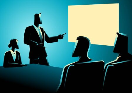strategy meeting: Business concept illustration of business people having a meeting using projector. Illustration