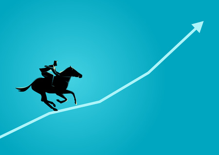 Business concept illustration of a business man on horseback running on graphic chart. Illustration