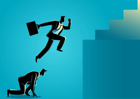 tricky: Business concept illustration of a business man using his friend as a stepping stone to jump higher.