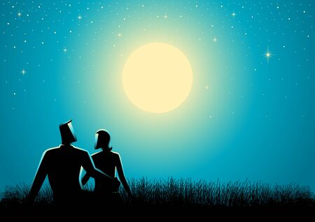 cuddle: Graphic silhouette of couple sitting on grass watching the full moon.