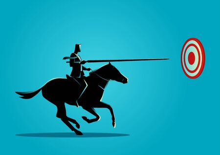 Business concept illustration of a business man on horseback charging in a joust with lance trying to hit the target.