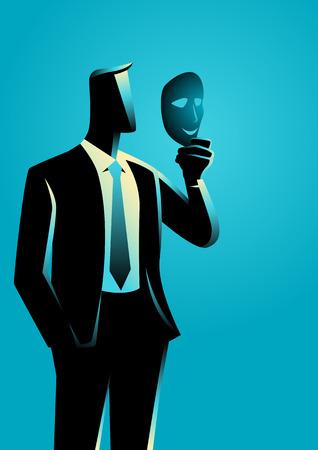 Illustration de concept d'affaires d'un homme d'affaires tenant un masque devant son visage Banque d'images - 72920296