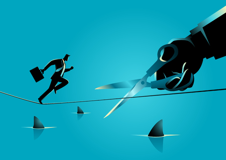 Business concept illustration of a businessman running on rope over a sea full with sharks, meanwhile a giant hand with scissors is cutting the rope Illustration