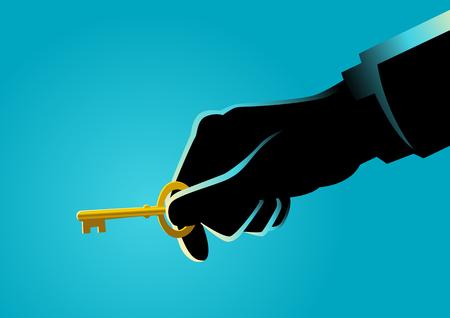 Business concept illustration of a businessman hand holding a golden key