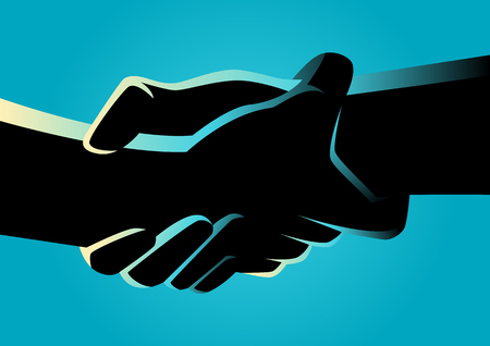 Illustration of two hands holding each other strongly Stock Illustratie