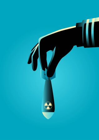 Graphic illustration of a hand in military uniform ready to drops an atomic or nuclear bomb Illustration